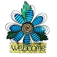 """Grace Home 金属复古悬挂花欢迎标志门装饰 蓝色 15.75"""" x 12.75"""" B01KEC995K"""