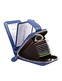 女式 16 个插槽皮革卡包包包包拉链紧凑手风琴 ID 钱包