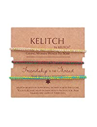 KELITCH 手工编织绳手链可调节贝壳珍珠饰珠友谊手链 3 件套/套装 Color 06G