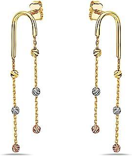 Pori Jewelers 14K 纯三色金钻石切割球和链式吊坠耳环 - 蝴蝶背衬 - 黄色、白色和玫瑰金