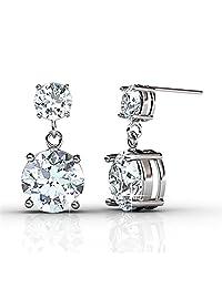 Cate & Chloe Jasmine 18k 白金耳环施华洛世奇水晶,银色悬垂闪耳钉带单颗圆形切割钻石水晶耳环饰钉,婚礼纪念日