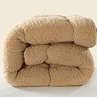 J.H.Longess 柔软蓬松素色短毛绒冬被加厚保暖纤维丝棉被羊羔绒被芯单双人被子 (羊羔绒-驼色, 200 * 230cm7斤)