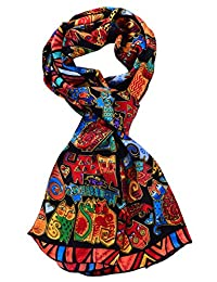salutto 女式100% 丝绸围巾 VAN Gogh 彩绘围巾