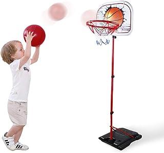 儿童篮球框可调节便携式套装2合1篮球架运动游戏套装高3.9英尺-6.1英尺(约1.2米-1.8米)室内门球玩具带球和气泵,适合3岁、4岁、5岁、6岁婴儿运动