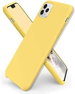 ORNARTO 液体硅胶手机壳适用于 iPhone 11 Pro Max,超薄液体硅胶软胶橡胶手机壳,适用于 iPhone 11 Pro Max(2019) 6.5 英寸 柠檬黄