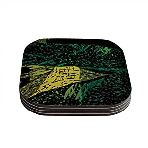 "Kess InHouse Theresa Giolzetti ""Family 1"" Coasters, 4 by 4-Inch, Green/Yellow, Set of 4"