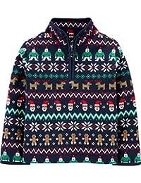 OshKosh B'Gosh 男孩部分拉链假日费尔岛羊毛套头舒适夹克(3T,*蓝费尔岛)