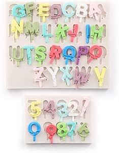 kowanii Fondant 字母硅胶模具,字母数字软糖蛋糕装饰模,Gumpaste Moldes Sugarcraft 蛋糕装饰用品 软糖工具和配件 灰色 Ice-Cream Alphabet Silicone Molds-2 Pack KO-SM022