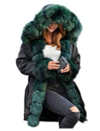 Roiii Plus Size Women Warm Fleece Vintage Winter Coat Hood Jacket Parka Outwear