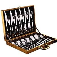 德国304不锈钢牛排刀叉套装西餐礼盒装欧式刀叉勺24件套礼品 (六人份-24件套)