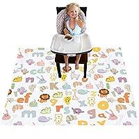 高脚椅地垫,婴儿餐垫,适用于高脚椅/艺术/工艺品,女士防水溅垫防滑溅垫,可洗的脏乱垫和桌布(字母)