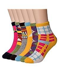 6 双装女式冬季保暖厚针织羊毛船袜混色