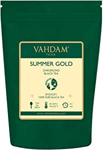VAHDAM 夏摘大吉岭红茶(50杯)天然无混杂大吉岭茶,种植,包装于印度,印度茶,100g