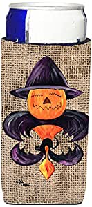 Halloween Pumpkin and Bat Fleur de lis on Faux Burlap Michelob Ultra Koozies for slim cans 8748MUK 多色 Slim