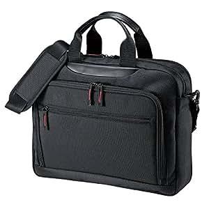 SANWA SUPPLY 山业 14英寸电脑包手提包 单肩斜跨手提 轻便小巧 可扩容 魔术贴分区 行李箱绑带 黑色 BAG-W1BKN(亚马逊自营商品, 由供应商配送)