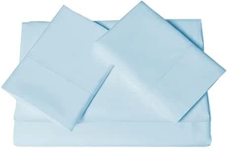 Tribeca Living 800 Thread Count Egyptian Cotton Sateen Extra Deep Pocket Sheet Set, King, Blue
