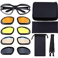 偏光摩托车骑行眼镜加垫眼镜框架护目镜套装包括 4 个镜片套件、眼镜盒、皮带、眼镜袋和用于户外活动运动的清洁布