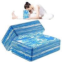 ANJUU 瑜伽砖 2 件装 高* EVA 泡沫块,防滑表面软木瑜伽砖 9 英寸 x 6 英寸 x 3 英寸(约 22.9 厘米 x 15.2 厘米 x 7.6 厘米)环保 EVA 泡沫锻炼砖套装,改善瑜伽/普拉提/冥想的拉伸 - 蓝色+白色