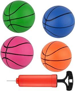 迷你篮球充气迷你球,泳池篮球篮球框室内户外玩具,带泵和篮球针(蓝色、*、粉色和橙色,6.3 英寸),4 支