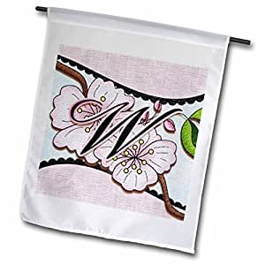 dooni Designs monogram 首字母设计–樱花花朵字母组合首字母 W–旗帜 12 x 18 inch Garden Flag