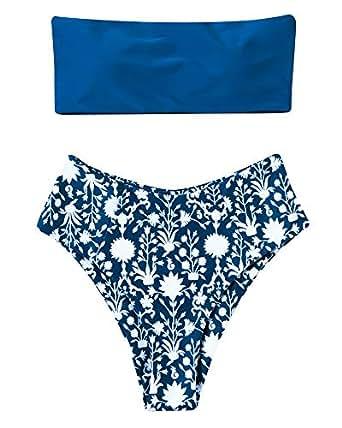 RXRXCOCO 女士抹胸无肩带比基尼套装高腰蛇纹印花泳衣 *蓝 Large (fits like US 6-8)