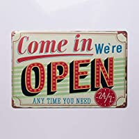 Come in We're Open Any Time You Need 24/7 金属锡标志复古装饰板墙面装饰,TSC182