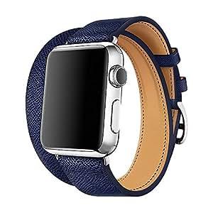 WAfeel 适用于 iPhone Watch 表带 38/42 毫米皮革双轮 iwatch 表带替换表带不锈钢表扣适用于 iPhone 手表系列 4 3 系列 2 系列 1 38 mm 深蓝色