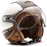 SOXON SP-325-URBAN Jet-Helmet Bobber Mofa 摩托头盔复古 Vespa-Helmet 复古切碎机飞行员摩托车头盔巡逻车,ECE 认证,皮革设计,包括 遮阳板,包括 布袋 L (59-60cm) SP-325 Urban C. - L