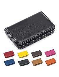 Padike 名片夹奢华 PU 皮革,名片夹钱包信用卡身份证盒/夹男女通用 - 让您的名片保持干净 小号 黑色
