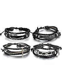 Aroncent Infinity 手链皮革腕带十字翅鱼钩黑色 4 件 21.59-26.67cm 黑色