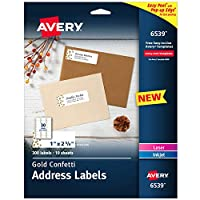 Avery Easy Peel 地址标签,2.54cm x 6.99cm,金色五彩纸屑设计,300 个标签(6539)