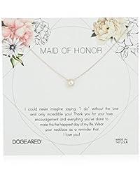 Dogeared Maid Of Honor 花牌小纽扣白色珍珠项链,40.64 厘米 + 5.08 厘米延长 银色 one_size