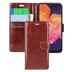 三星 Galaxy A10 手机壳,Galaxy M10 手机壳,CSTM 保护对开 PU 皮革钱包手机套带信用卡插槽,现金袋,支架,适用于 Galaxy A10/M10 的磁扣 棕色