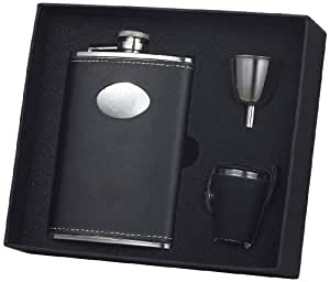 """Visol """"Eclipse Z"""" Leather Deluxe 8-Ounce Black Flask Gift Set with Stainless Steel Funnel"""