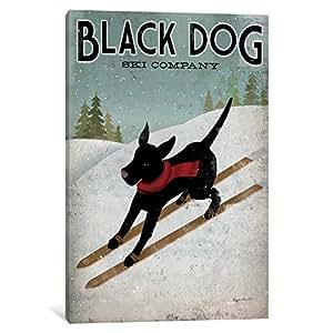 iCanvasART WAC1114-1PC6-26x18 Black Dog Ski Canvas Print, 26 by 18-Inch, 1.5-Inch Deep
