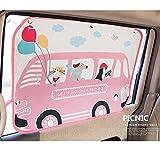 汽车遮阳帘适用于婴儿儿童侧窗 - 汽车遮阳保护膜 - 阻挡 95% 以上的紫外线和阳光炫光设计汽车内饰*盲孔 Pink Picnic