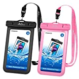 MoKo 防水手机袋 [2 件装],水下手机套带挂绳的防水袋兼容 iPhone X/Xs/Xr/Xs Max,8/7/6s Plus,Samsung Galaxy S9/S8 Plus,S7 Edge,Note 9/8,华为,*大6.5 英寸 C.Black+Pink