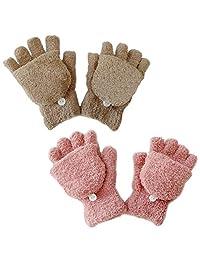 儿童冬季手套易穿羊绒内衬羊毛手套冬季保暖手套 2 双(5~12 岁)