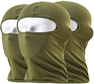 Sunland Balaclava 滑雪头盔袜 寒冷天气面罩 适用于摩托车自行车 防风* 3 件装 * * smBF-13dgreenx3