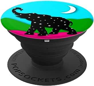 非洲大象婴儿礼物月亮夜明星 Elefante PopSockets 手机和平板电脑握架260027  黑色