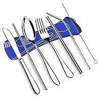 VICBAY 4 件套不锈钢餐具套装,刀叉叉勺筷子套装,旅行露营餐具套装,氯丁橡胶盒,可重复使用的午餐盒餐具,便携式旅行银色餐具套装