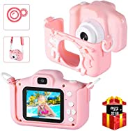 Bosszi 兒童數碼相機迷你攝像機,適合男孩和女孩| 2.0 英寸數碼雙攝像頭 | 20.0 MP 高清視頻攝像機防掉落兒童卡通自拍相機禮品 - 配有 32G SD 卡(粉色)