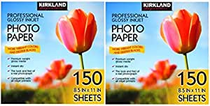 Kirkland Signature 专业光面喷墨照片纸 21.59 x 27.94 厘米(150 张) 150 Sheets (2 Pack)