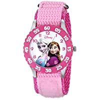 Disney W000970《冰雪奇缘》冰雪公主卡通形象儿童手表,配粉色尼龙表带