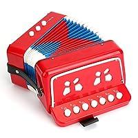 Tosnail 儿童钢琴打击乐手风琴音乐玩具,红色