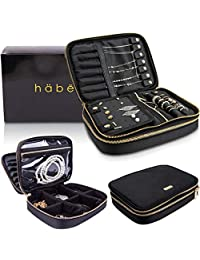 Habe 旅行珠宝收纳盒 | 真正无缠结 | 节省空间珠宝收纳包 | 小型旅行珠宝盒可容纳*多 - 12 对耳环、7 条项链、可调节隔层、大口袋