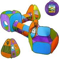 Playz 5 件套儿童弹出式游戏帐篷爬行隧道和球坑,男孩、女孩、婴儿和学步儿童篮球篮(紫色、橙色、黄色、红色、蓝色)