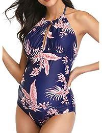 孕妇花卉泳装一体式 V 领孕妇泳装吊带孕妇比基尼蓝色
