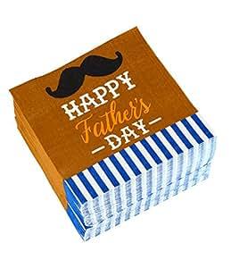 鸡尾*餐巾 - 150 件装午餐巾纸,一次性纸巾,餐巾纸父亲节派对用品,2 层,胡须设计 6.5 x 6.5 Inches 150.00