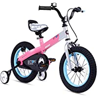 RoyalBaby Matte Button Kids' Bike with Training Wheels Perfect Gift for Kids. 12 Inch wheels, Pink